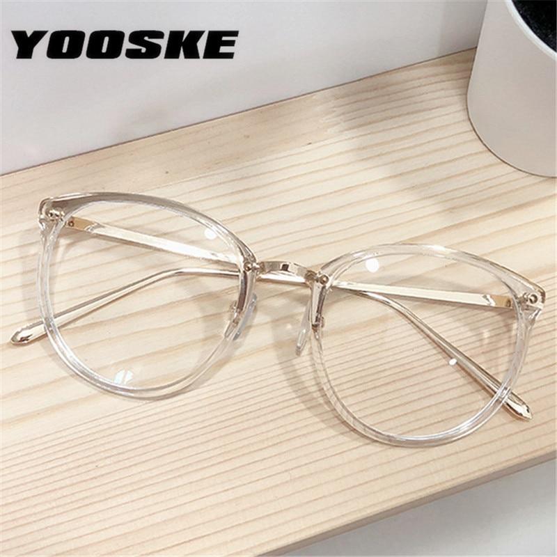 YOOSKE Oversized Round Clear Glasses Frame Men Women's Eyeglass Frame Transparent Optical Cat Eye Spectacle Glasses Frames