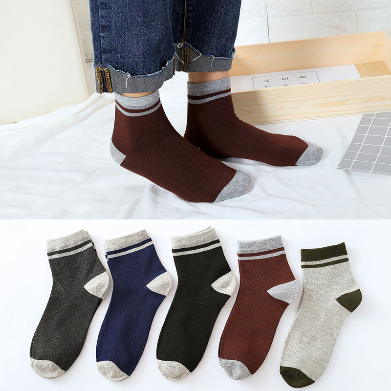 1Pair Mens Non Elastic 100% Pure Cotton Socks Comfort Soft Grip Diabetic Men's Sports Stockings