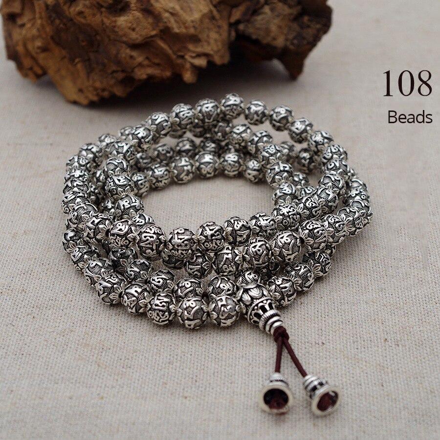 Image 3 - 108 Beads Mantra Bracelets For Men and Women Six Words Engraved 925 Sterling Silver Om Mani Padme Hum Prayer Multilayer BraceletBracelets & Bangles   -