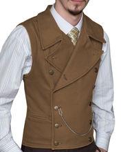 Коричневый джинсовый мужской костюм жилеты винтажный двубортный