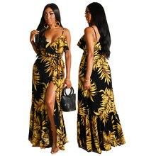 Женское длинное платье md на бретельках с Африканским принтом