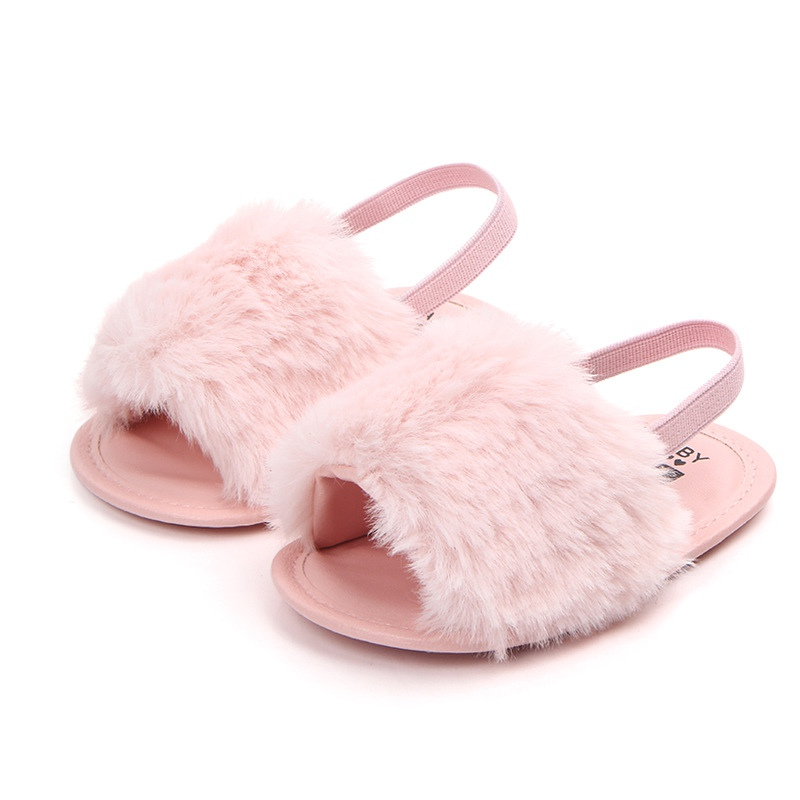 Fur Baby Girls Slippers Newborn Girls Boys First Walker Infant Baby Solid Flock Soft Slipper Indoor Shoes
