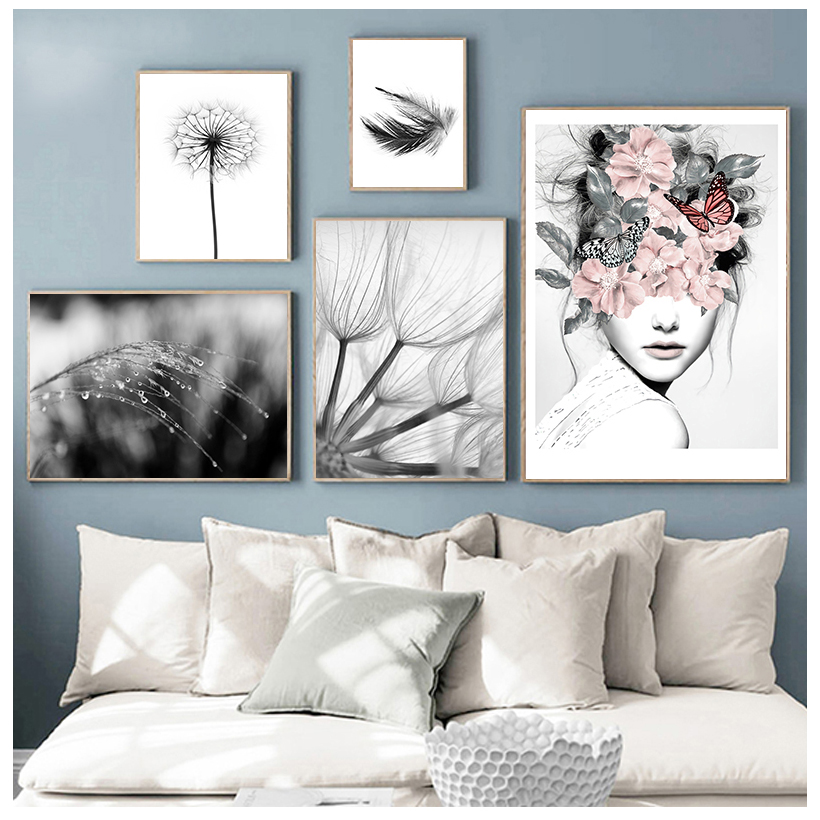 Home Decorative Prints Painting Reed Dandelion Feather Girl Pictures Wall Art Modular Canvas Poster  Bedside Background