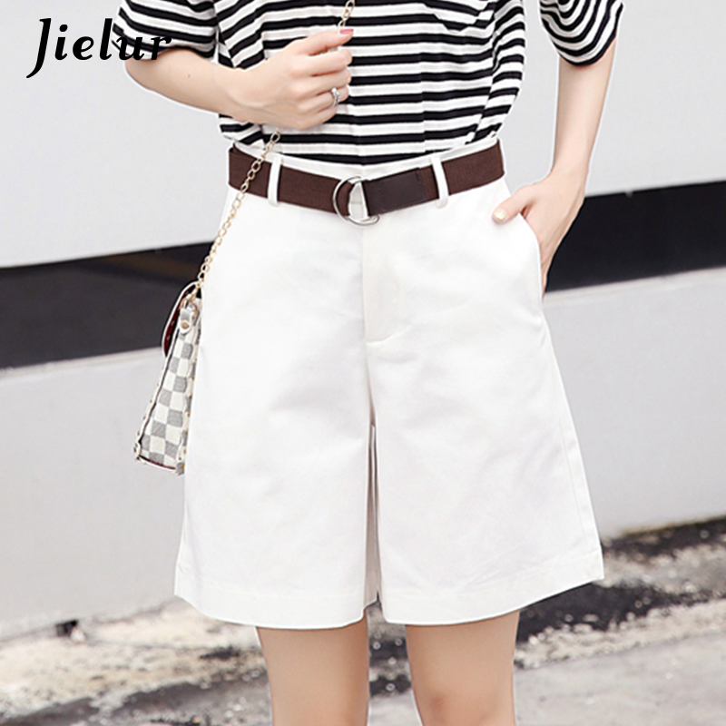Jielur Korean Fashion Casual Summer   Shorts   Women Loose Wide Leg Pantalon Femme Belt Green White High Waist   Shorts   Female S-XXL