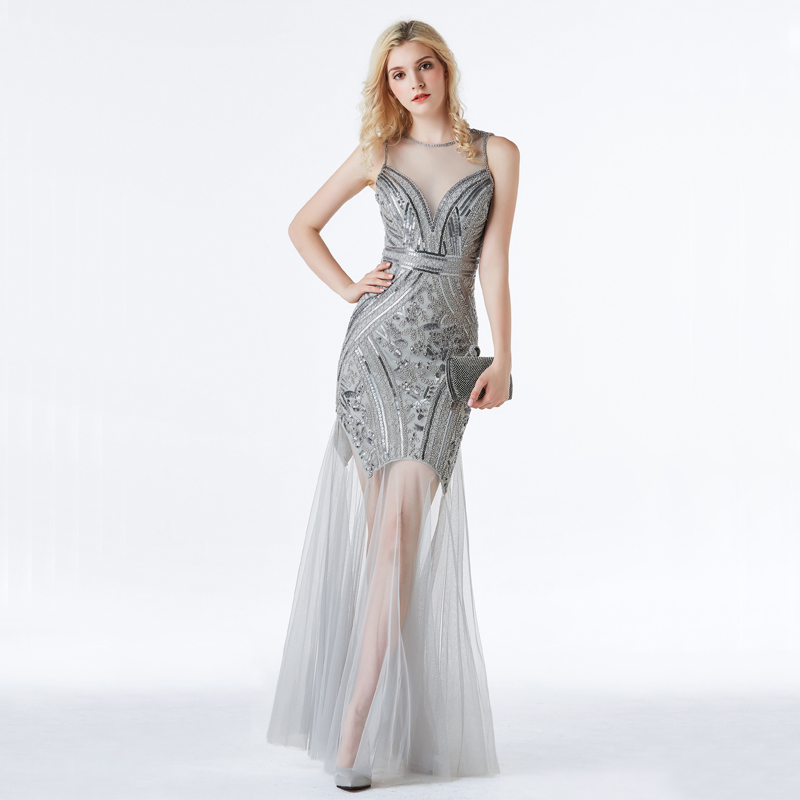 YIDINGZS Evening-Dresses Sequins Mermaid Formal Long YD919 New-Style