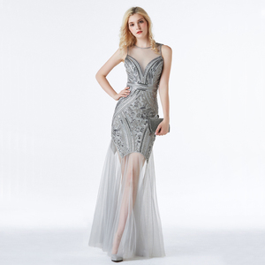 Image 1 - YIDINGZS Sequins Beading Evening Dresses Mermaid Long Formal Evening Party Dress 2020 New Style YD919