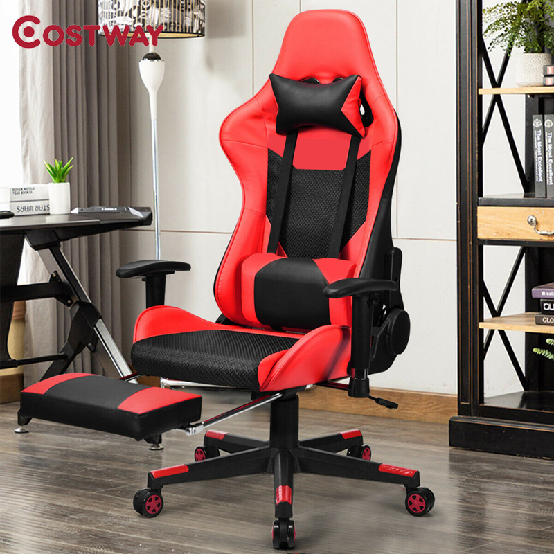 Modern USB Massage Gaming Chair Reclining Racing 360 Degree Rotation Free Sliding Office Chair Retractable Footrest