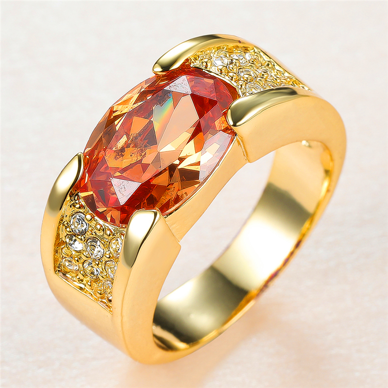 Luxury Champagne Zircon Ring Big Oval Crystal Stone Rings For Women Men Engagement Jewelry Vintage Fashion Yellow Gold Male Ring