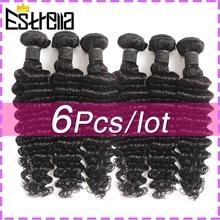 Peruvian Deep Wave Human Hair Bundles 6Pcs/Lot Remy Hair Weaving Bundles Deal 8-26 Inch Natural Color Deep Curly Hair Extensions