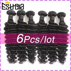 Перуанские пряди из человеческих волос с глубокой волной, 6 шт./Лот, пряди для плетения волос с Реми, сделан 8-26 дюймов, натуральный цвет, глубо...