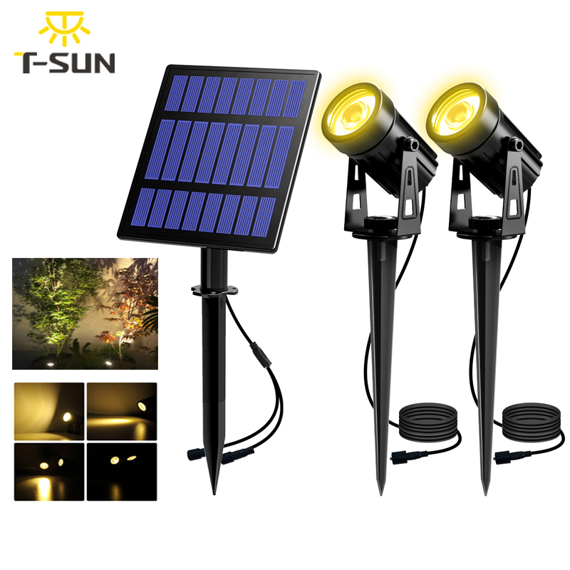 T-SUNRISE Solar Powered Spotlight 2 Warm White Lights Solar Panel Outdoor Lighting Landscape Yard Garden Tree Separately Lamp