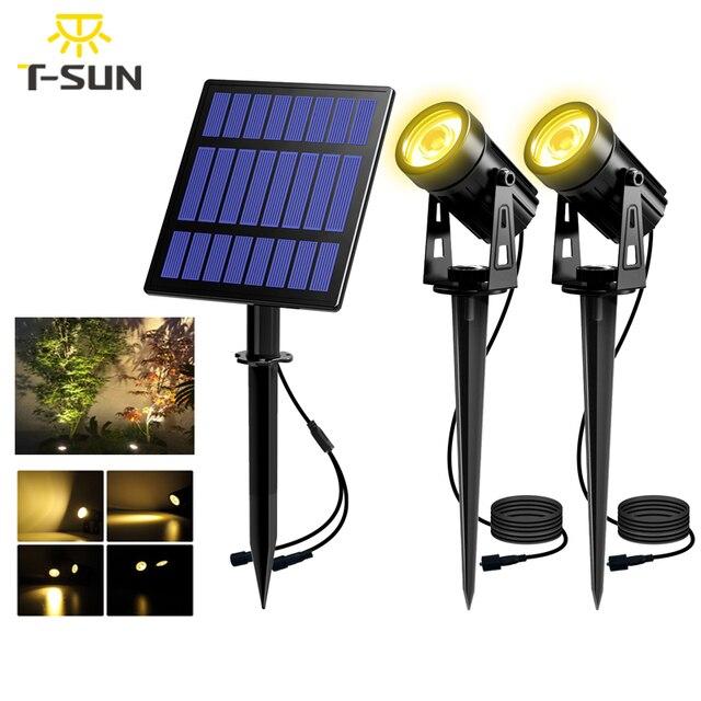 T SUNRISE Solar Powered Spotlight 2 Warm White Lights Solar Panel Outdoor Lighting Landscape Yard Garden Tree Separately Lamp
