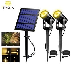 T-SUNRISE Solar Powered Spotlight 2 Warme Weiße Lichter Solar Panel Außen Beleuchtung Landschaft Yard Garten Baum Separat Lampe