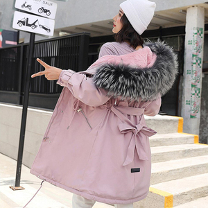 Image 1 - 2019 Women Winter Jacket With Large Fur Hooded New Arrival Female Long Winter Coat Parkas With Fur Lining