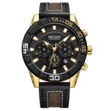 MEGIR Mens Watches Top Luxury Brand Male Clocks Military Army Man Sport Clock Leather Strap Business Quartz Men Wrist Watch