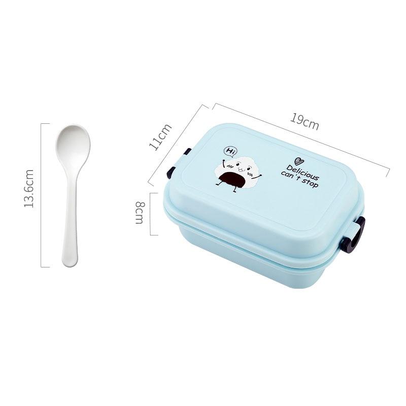 1000 мл прямоугольная коробка для ланча микроволновая печь японский Bento Box детский пищевой контейнер для хранения Портативный школьный пикник с ложкой для обеда - Цвет: Blue