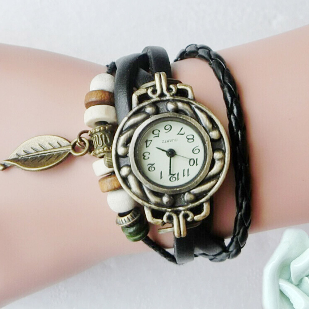 Women Children Retro LeatherWinding Bracelet Leaf Pendant Watch Ladies Watch Women Dress Reloj Mujer Zegarek Damski