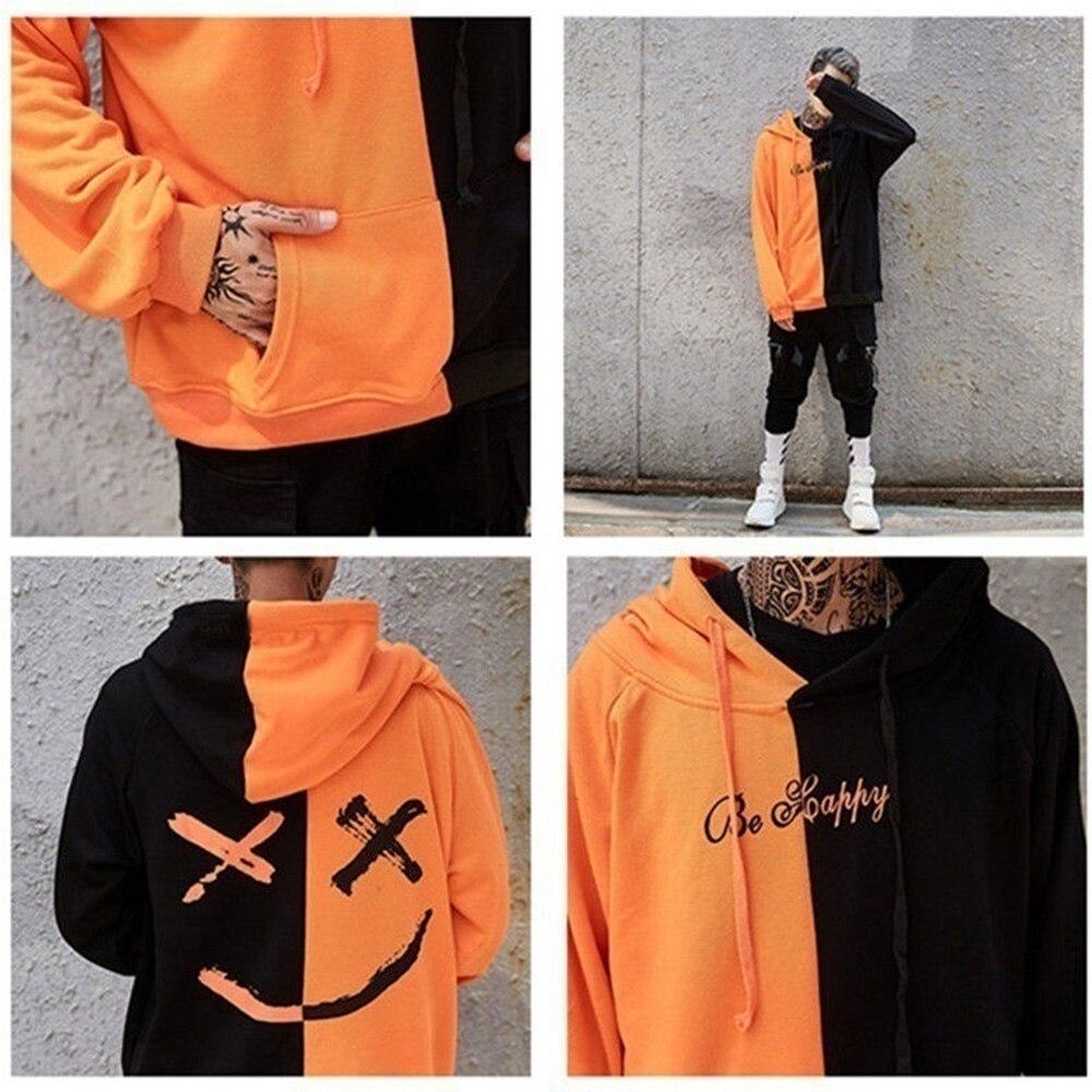 Men Hoodies Sweatshirts Happy Smiling Face Print Headwear Hoodie Women Patchwork Hoodies Hip Hop Streetwear Hooded Pullover 5