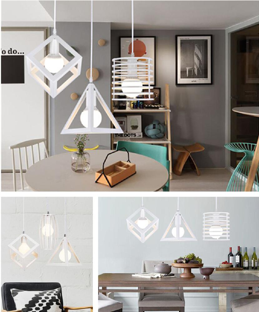 White Iron Cage Pendant Light Cube Metal Lights Accessory Iron Loft Ceiling Industrial Retro Hanging Lamp For Home Bar Cafe Art