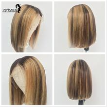 цена на 13x6 Ombre bob lace front wig Human Hair Lace Wig Highlight Short Bob Lace Front Human Hair Wigs Pre Plucked Brazilian Remy Hair