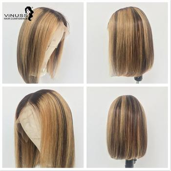 13x6 Ombre bob lace front wig Human Hair Lace Wig Highlight Short Bob Lace Front Human Hair Wigs Pre Plucked Brazilian Remy Hair my like brazilian curly human hair wig pre plucked short bob lace front human hair wigs 150% density remy 99j lace front wigs
