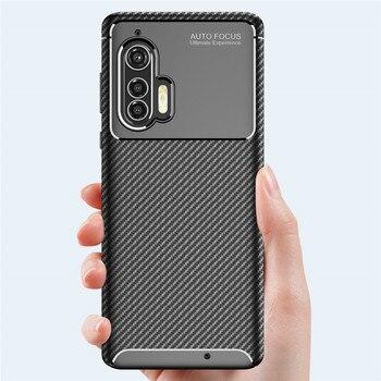 Перейти на Алиэкспресс и купить Чехол для Motorola Moto rola edge Plus, роскошный бампер из углеродного волокна, силиконовый чехол для задней панели телефона, чехол для Moto rola edge