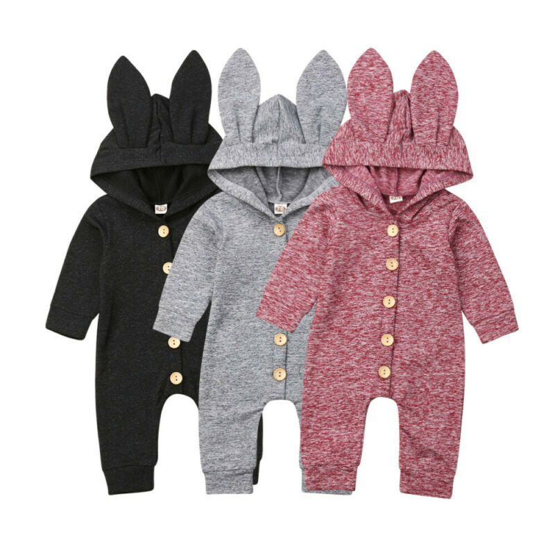 New Newborn Infant Baby Girl Boy Fashion Style Solid Cute Rabbit Ears Hooded Cotton   Romper   Button Jumpsuit Outfits Clothes 0-24M