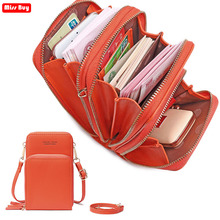 PU Leather Plain Mobile Phone Bag For Samsung/iPhone/Huawei/Xiaomi Wallet Case Pocket Shoulder Bags Cell Phone Pouch Clutch bag