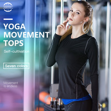 Hot Women Fitness Tight Yoga Tshirt Female Quick Dry Fit Training Sport Running Sportswear Long Sleeve Gym Shirt XXL