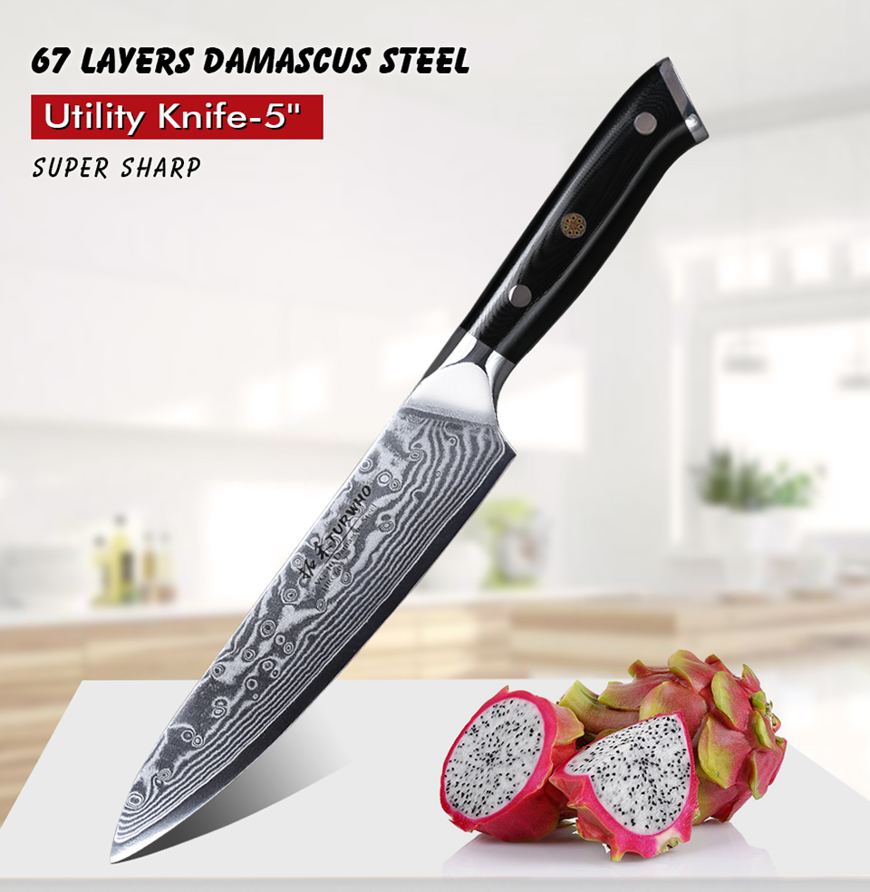 TURWHO 5 inch utility knife Japanese Damascus knives Super sharp Fruit Paring knife High Quality Multi-purpose Kitchen Knives