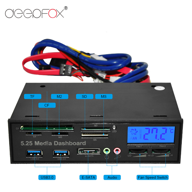 DeepFox Multifunctional USB 3.0 Front Panel 5.25'' Media Dashboard e-SATA MS CF TF SD Card Reader 3.5mm Earphone MIC Interface 1