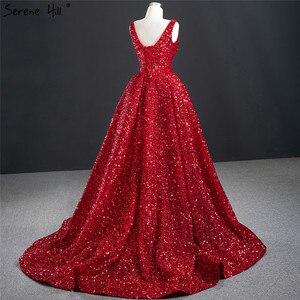 Image 4 - דובאי אדום עמוק V יוקרה סקסי ערב שמלות 2020 שרוולים פאייטים סימטרי פורמליות שמלת Serene היל HM67126
