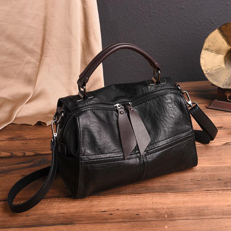 Новинка 2019, роскошная винтажная сумка из коровьей кожи, Большая вместительная модная сумка на плечо в стиле Бостона, женская дизайнерская сумка известных брендов Bolsa|Сумки с ручками| | АлиЭкспресс