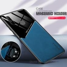 Realmi c 3 11 15 caso textura de couro do carro magnético hloder telefone capas para oppo a52 a72 a92 a5 a9 2020 realme c3 c11 c15 coque
