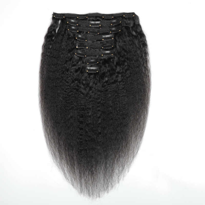 Halo Lady podwójne pasma 100% Remy ludzkie włosy na całą głowę Afro perwersyjne proste brazylijskie dopinki na klips 8 sztuk 17 klipów Yaki włosy