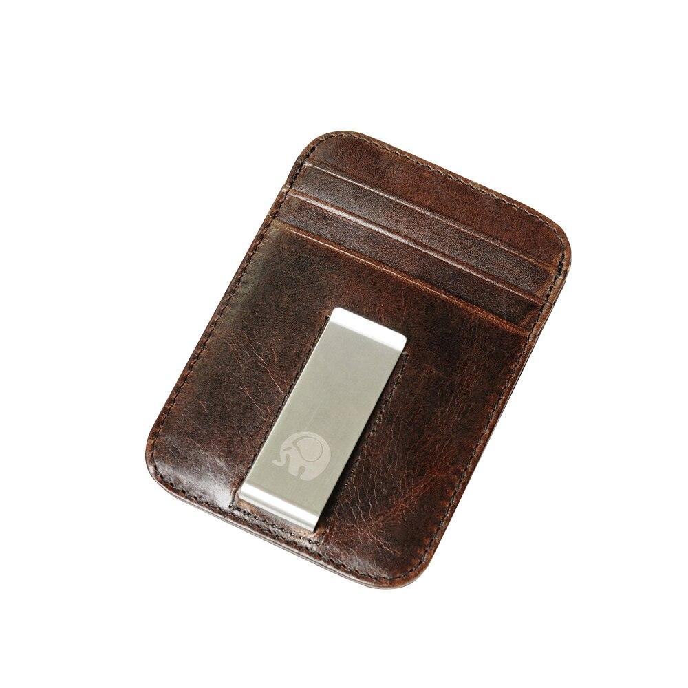 Genuine Leather Men's Wallet RFID Blocking Slim Small Bank ID Credit Cards Organizer Retro Man Purse Business Money Clips Men