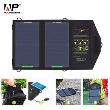 ALLPOWERS Panel słoneczny 10W 5V ładowarka solarna przenośna bateria słoneczna ładowarki do akumulatorów ładowanie telefonu do uprawiania turystyki pieszej itp Na świeżym powietrzu tanie tanio 465*265*3mm (Open) 270x170x10mm(Fold) AP-SP5V10W 2 solar panels Monokryształów krzemu 5v 1 6A (max) 23 5 for iPhone 6 6s 7 7plus Samsung Galaxy s6 s7 s8 etc