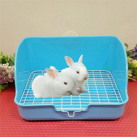 HobbyLane Cat Pet Rabbit Plastic Toilet Tray with Steel Wire Bottom Urinal Bowl Pee Pet Supplies Training Tray For Small Animal
