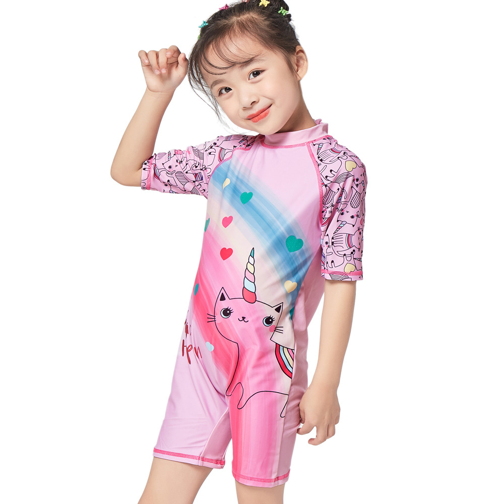 2019 New Products Children Sun-resistant UPF GIRL'S One-piece Swimming Suit Colorful Peach Heart Printed Girls Hooded High-End S