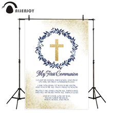 Allenjoy First holy communion photocall golden sands wreath floral leaf children ceremony decoration background backdrop
