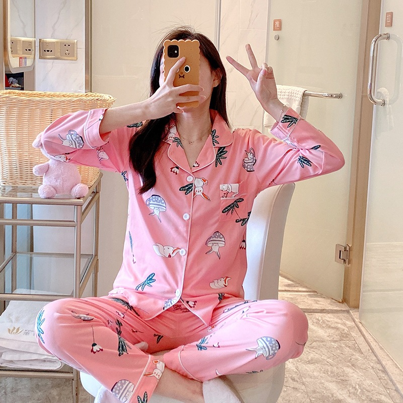 Pajamas Women Long Sleeve Pajamas Suit Spring And Autumn-Outer Wear Korean-style Casual Cardigan Women's Tracksuit Autumn And Wi