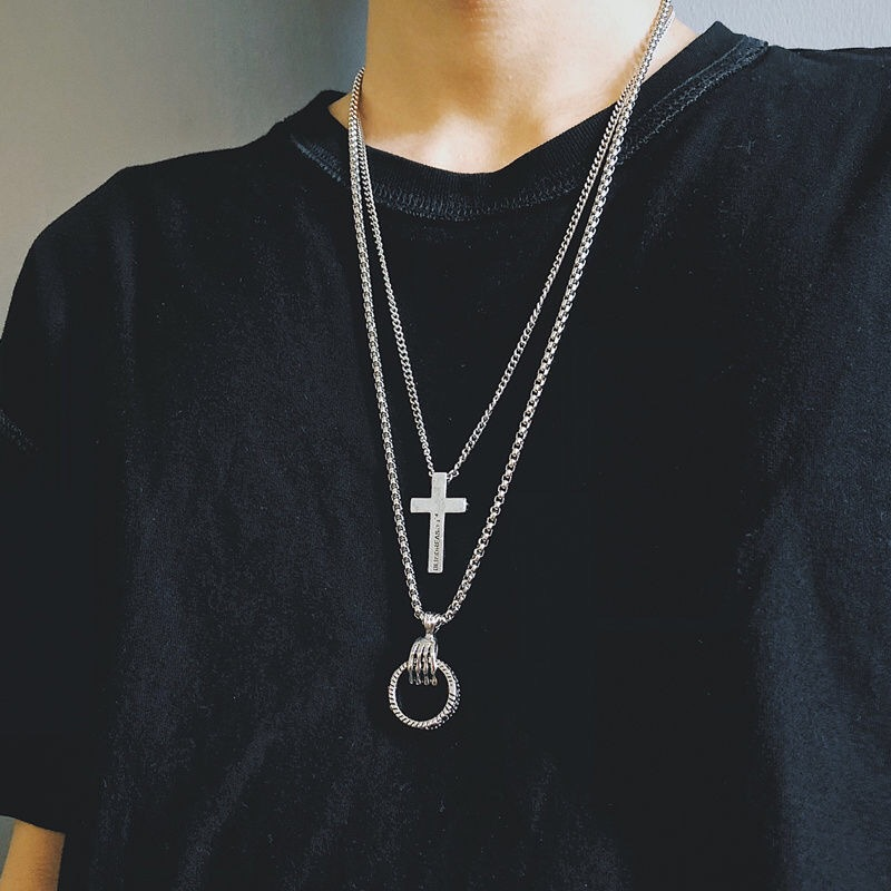 Hip-hop Skull Hand Circle Personality Stainles Steel Chain Pendant Cross Necklace Men and Women Couple Accessories