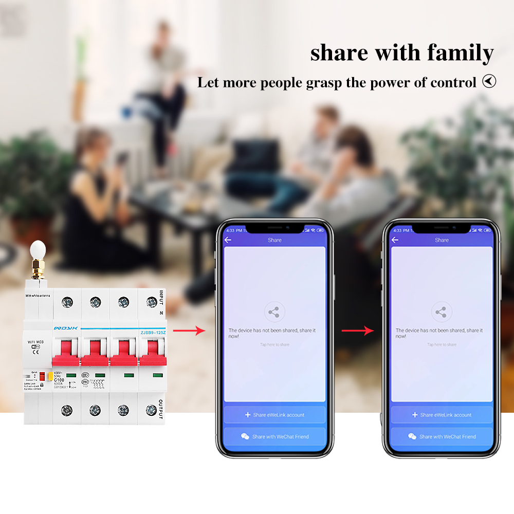 eWelink app 4P WiFi Smart Circuit Breaker overload short circuit protection with  Alexa google home for Smart Home 6