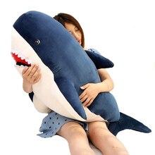 New 55CM/80cm New Style Blue Grey Shark Plush Toys Big Fish Cloth Doll Whale Stuffed Plush Animals Doll Children Boy Birthday Gift