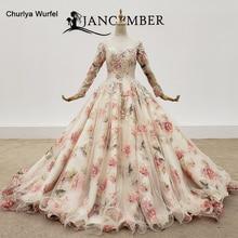 HTL1382  Transparent O Neck Evening Dresses Applique Long Sleeve Dress Flower Print Wavy Under Vestidos