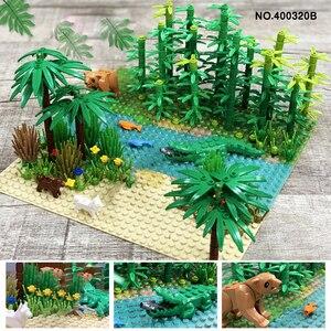 Image 4 - 32*32Dots Classic Base Plates Tropical Rainy Climate Green Jungle Building Blocks Rainforest Animal Grass Tree MOC Kids Toy Gift
