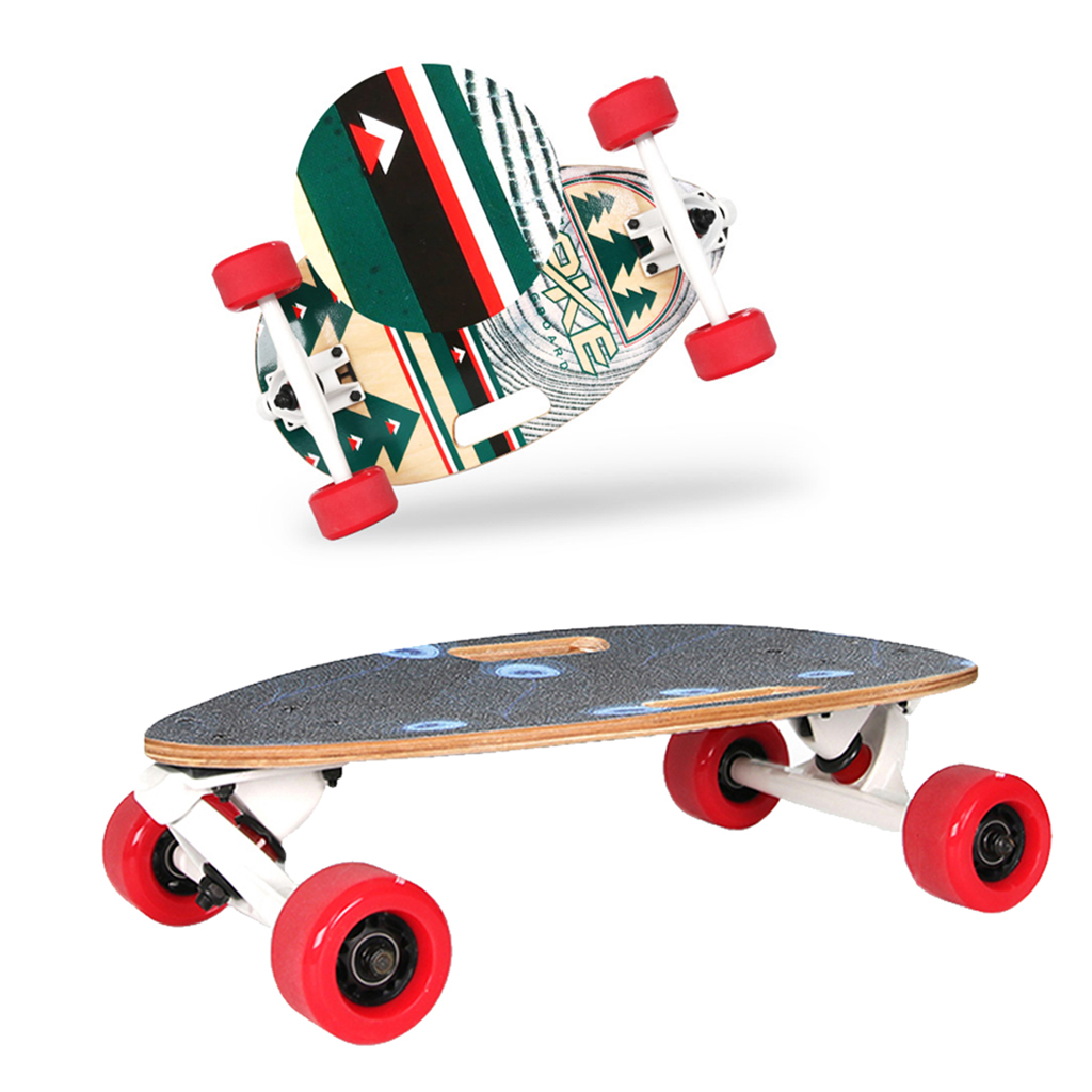 Portable Mini Complete Skateboard Water Drop Shape Maple Longboard For Urban Commuters With Repair T Wrench Carry Bag & Stickers