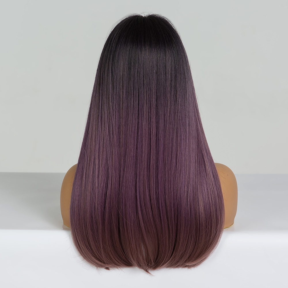 Image 4 - EASIHAIR Long Straight Black to Purple Ombre Hair Wigs With Bangs Synthetic Wigs Gluless Heat Resistant Wigs For Black WomanSynthetic None-Lace  Wigs   -