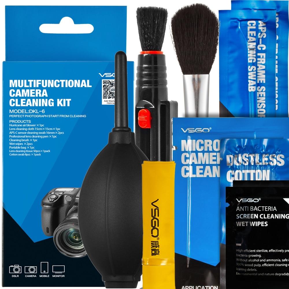 VSGO-Kit de limpieza de lentes de cámara 9 en 1, soplador de aire + bolígrafo, cepillos de microfibra, toallitas para lentes para limpieza Digital SLR