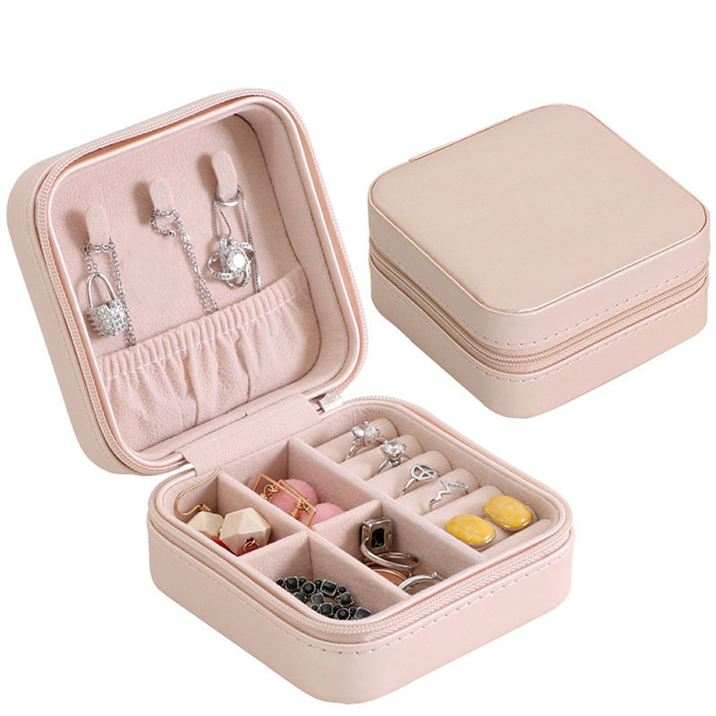 Portable Jewelry Box Storage Organizer Zipper Portable Women Display Travel Case Jewelry Organizer Ring Box Jewelrys Holder